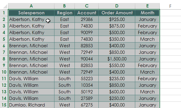 Pivot table select data
