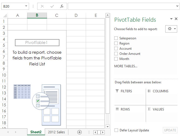 Pivot table field menu to select data