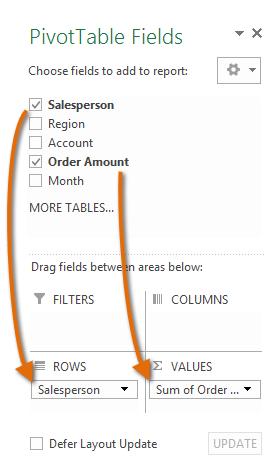 Pivot table selection header values