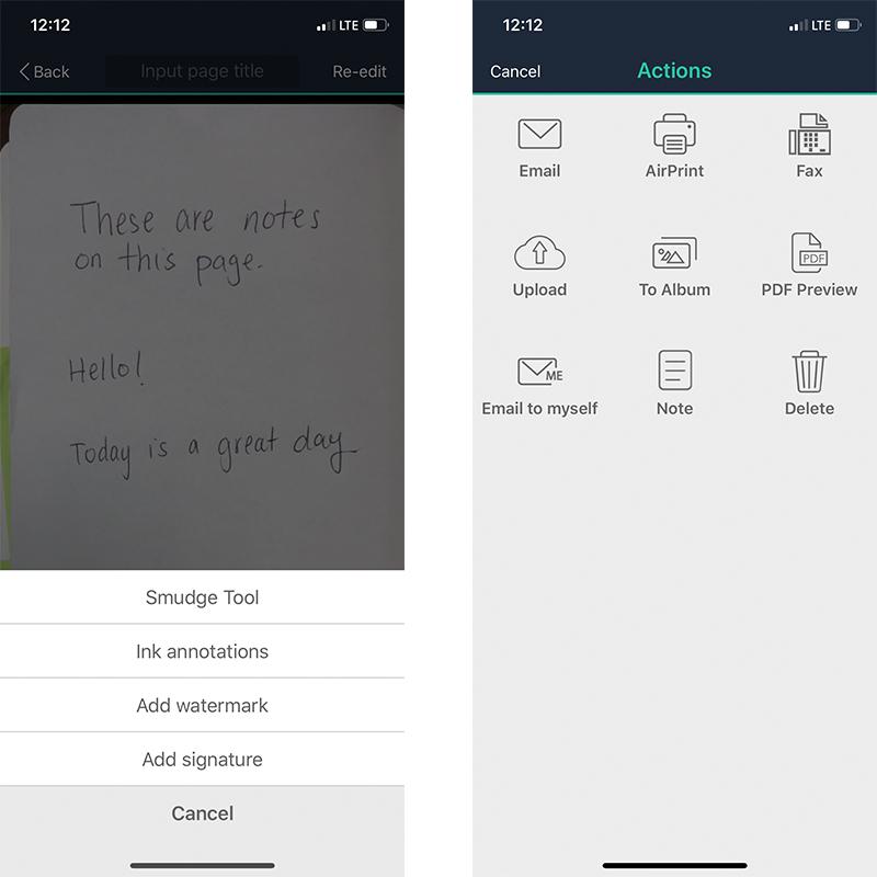 camscanner edit tools and actions screenshots