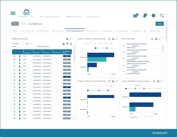 hcm time management dashboard screen