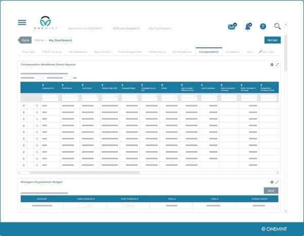 hcm compensation dashboard screen for workforce