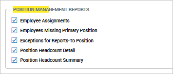 Position Management Reports