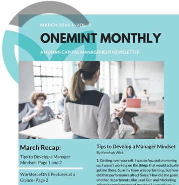 ONEMINT March Newsletter